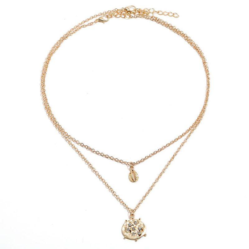 Fashion alloy round rhinestone shell necklace NHBQ144425