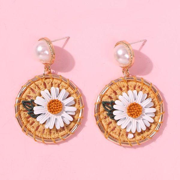 Fashion woven small daisy flower earrings NHMD144504