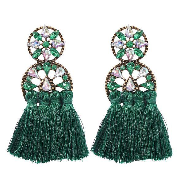 Fashion openwork round rhinestone studded scalloped stud earrings NHMD144580