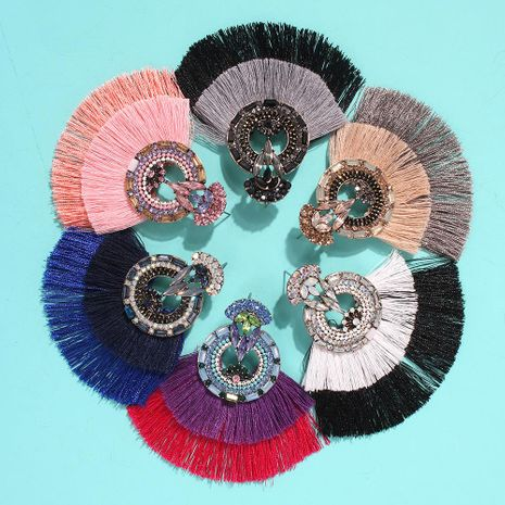 Bohemian two-tone scalloped tassel earrings NHMD144587's discount tags