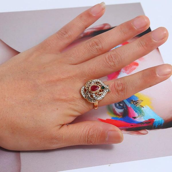 Explosion-cut hollow turquoise alloy ring NHKQ144625