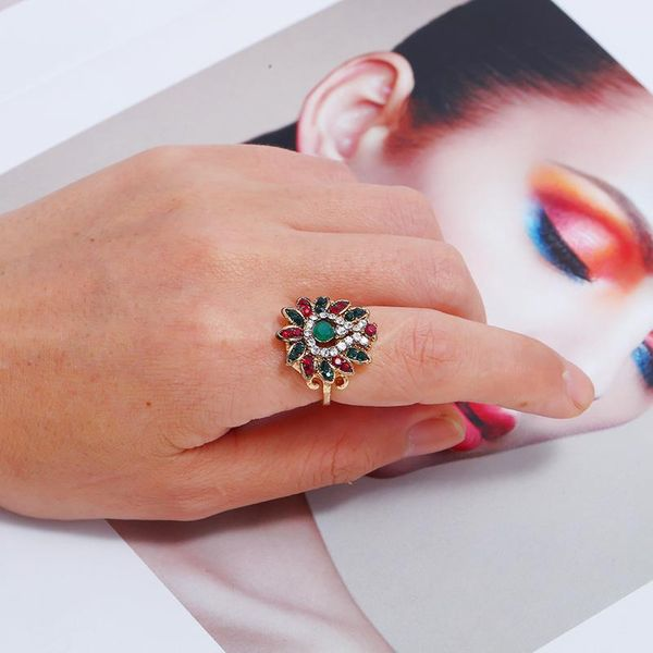 Stylish and simple hollow turquoise ring NHKQ144636