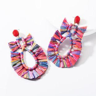 Fashion drop-shaped hollow raffia earrings NHJE144654's discount tags