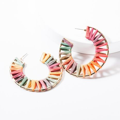 Fashion C-shaped raffia earrings NHJE144656's discount tags