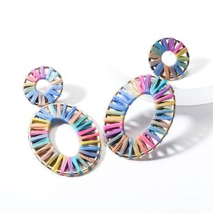 Fashion Alloy Elliptical Openwork Raffia Earrings NHJE144658's discount tags