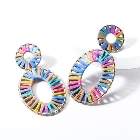 Fashion Alloy Elliptical Openwork Raffia Earrings NHJE144658's discount tags
