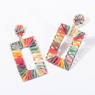 Fashion new alloy rectangular Raffia earrings NHJE144660's discount tags
