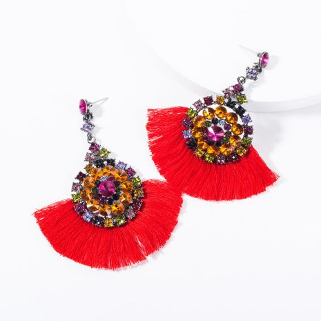 Fashion Rhinestone Round Floral Tassel Earrings NHJE144666's discount tags