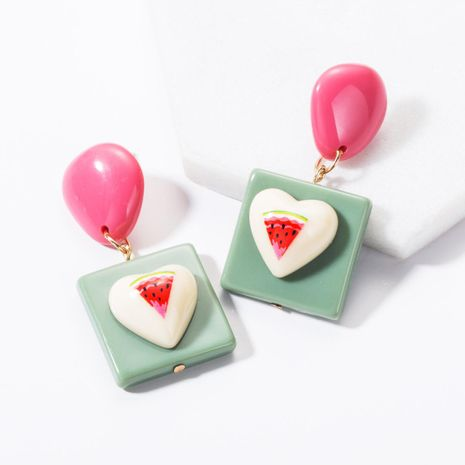 Fashion Geometric Square Love Fruit Resin Earrings NHJE144668's discount tags