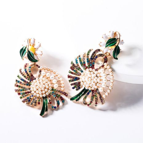 Fashion Floral Dropper Half Rhinestone Half Inlay Beads Earrings NHJE144678's discount tags