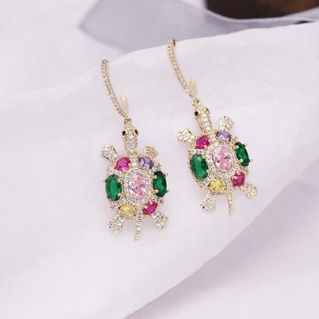 Cute colorful zircon small turtle earrings NHDO144680's discount tags