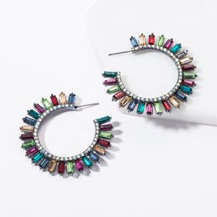 Fashion C-shaped full rhinestone earrings NHJE144682's discount tags