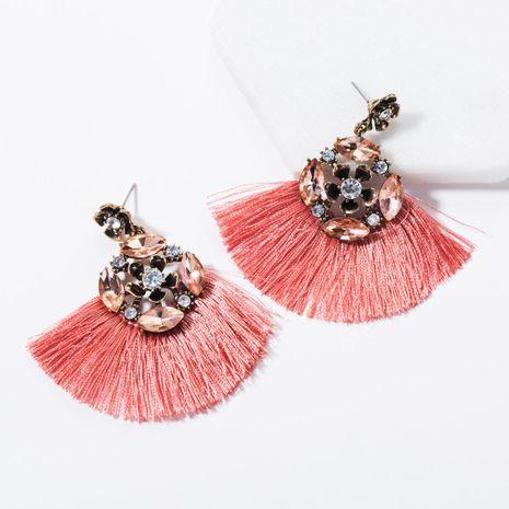 New fashion rhinestone flower tassel earrings NHJE144683's discount tags