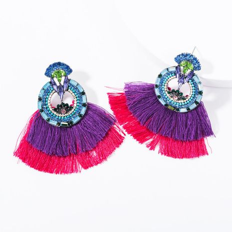 Fashion rhinestone round flower multi-layer tassel earrings NHJE144685's discount tags