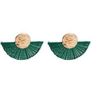 New rattan woven fan earrings NHJE144698's discount tags