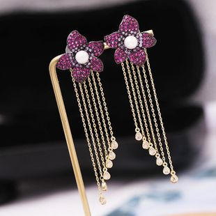 Fashion copper inlaid zircon flower beads earrings NHDO144703's discount tags