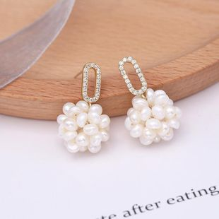 New zircon natural beads stud earrings NHDO144712's discount tags