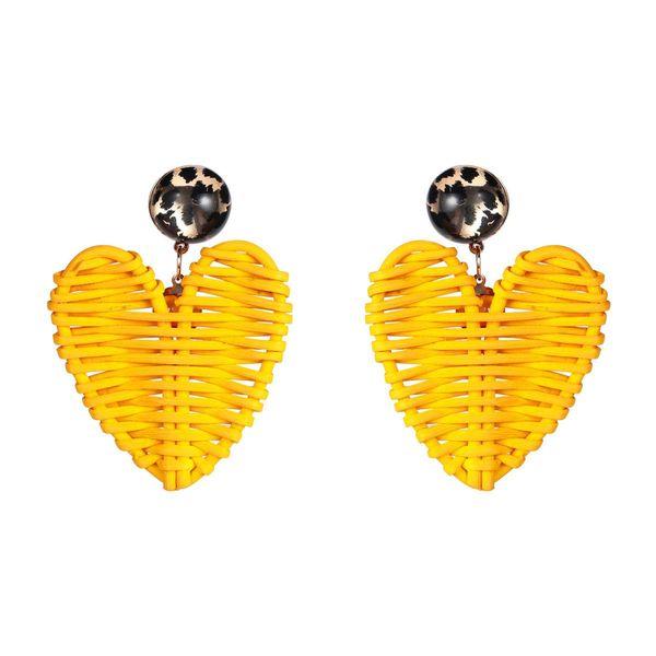 Vintage love heart shaped rattan woven earrings NHJE144718