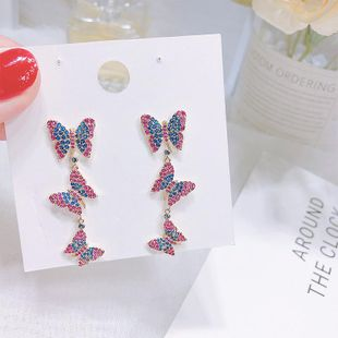 New copper inlay zircon color butterfly earrings NHDO144719's discount tags