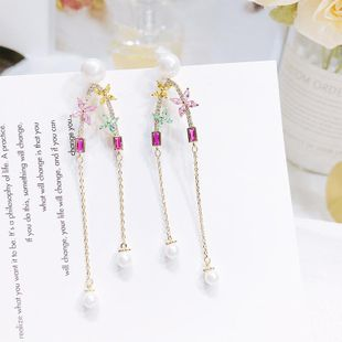 New copper inlaid zircon beads flower earrings NHDO144720's discount tags