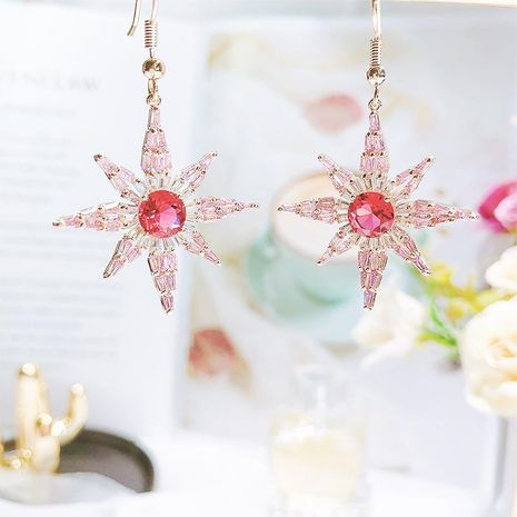Fashion pink zircon inlaid awning star earrings NHDO144727's discount tags