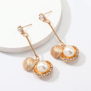 New Alloy Shell Zircon Earrings NHNZ144741's discount tags
