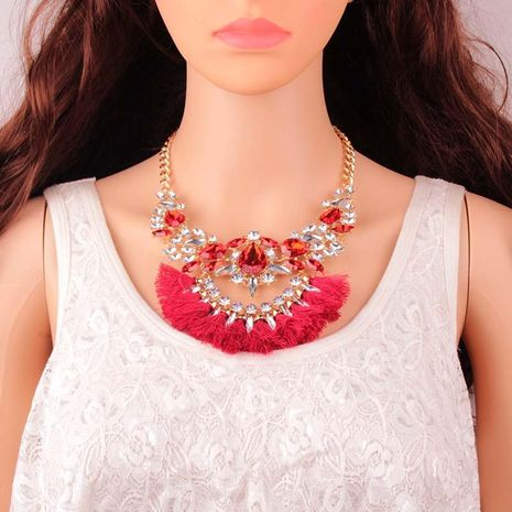 Fashion Alloy Rhinestone Flower Tassel Necklace NHJQ144791's discount tags