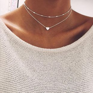 Fashion heart alloy double layer necklace NHNZ144807's discount tags