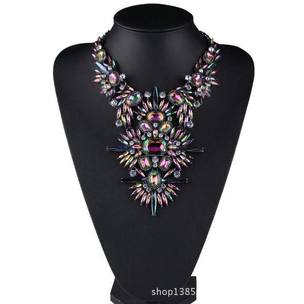 Nuevo collar de piedras preciosas geométricas de color azul brillante NHJQ144804