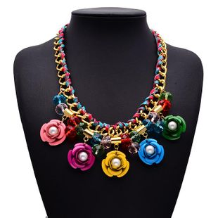 Fashion color flower gemstone cotton rope woven necklace NHJQ144823's discount tags
