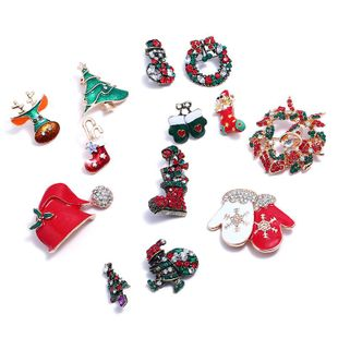 Stylish Christmas Rhinestone Multi-Shaped Dropping Oil Brooch NHNZ144828's discount tags