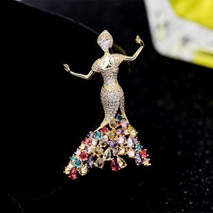 Fashion copper inlaid zircon princess brooch NHDO144832's discount tags