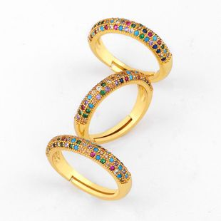 Fashion copper inlaid zircon rainbow ring NHAS144837's discount tags