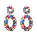 Fashion Alloy Elliptical Openwork Raffia Earrings NHJE144658