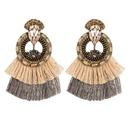 Fashion rhinestone round flower multilayer tassel earrings NHJE144685