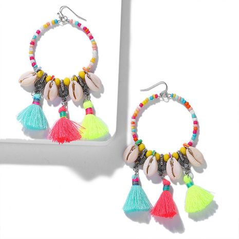 Ethnic style handmade natural shell circle tassel earrings NHJQ139132's discount tags