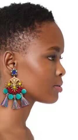 Womens Geometric Hand-knitted Alloy Earrings NHJQ139138