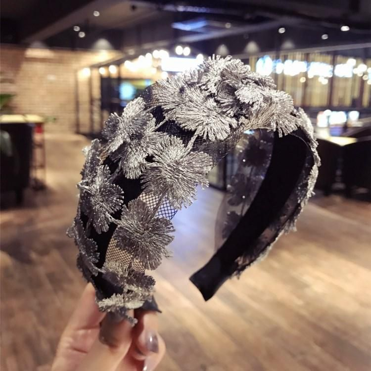 Lace lace super fairy wide openwork knit headband NHSM139194