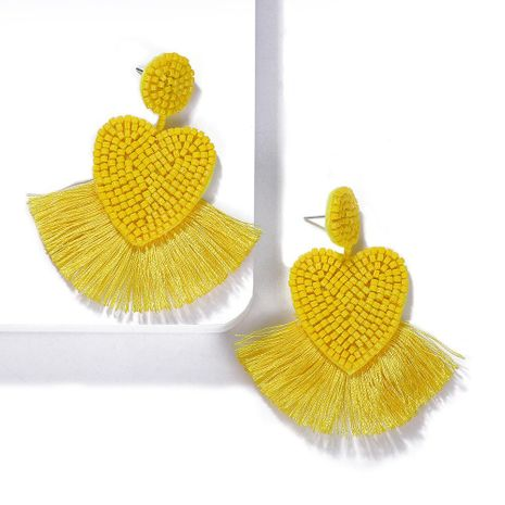 Womens Heart Shaped Rice Beads Tassel Earrings NHJQ139219's discount tags