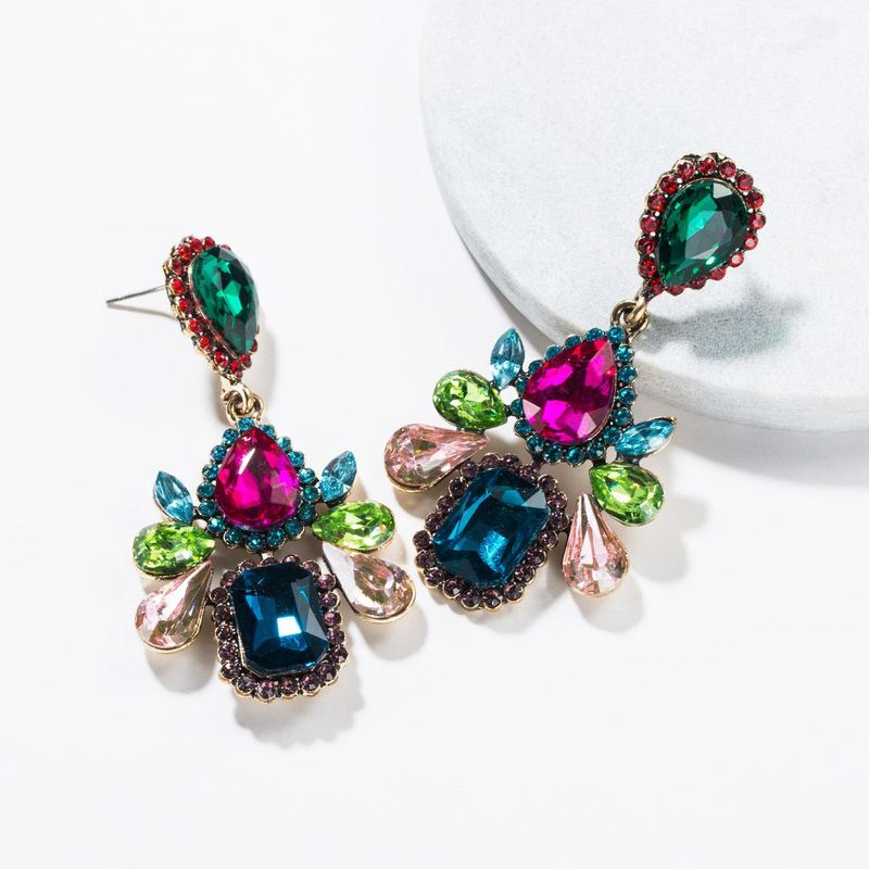 Multi-layer drop-shaped acrylic rhinestone full rhinestone earrings NHJE139221