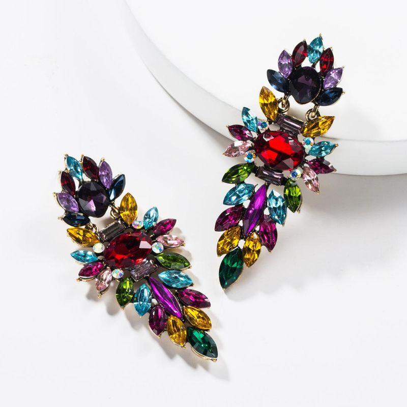 Multi-layer acrylic rhinestone-studded full rhinestone earrings NHJE139232