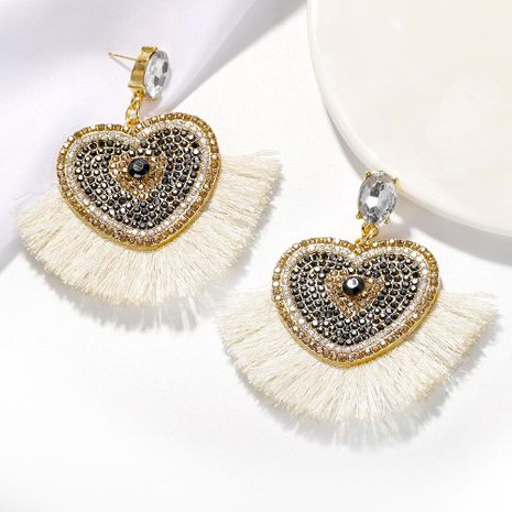 Fashion heart shaped tassel earrings NHJQ139234's discount tags