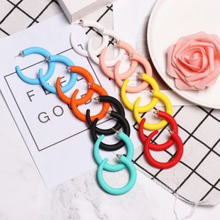 Big geometric C-shaped space acrylic earrings NHJJ139235's discount tags