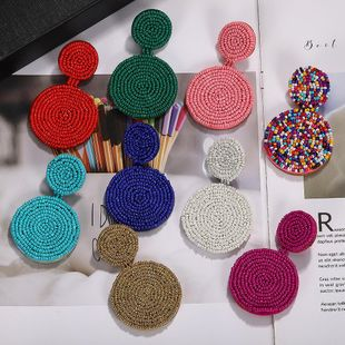 Womens Round Rice Beads Earrings NHJQ139238's discount tags