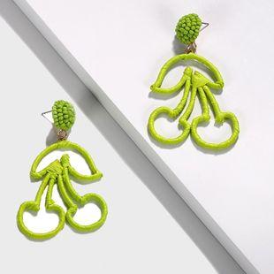 National wind Raffia series cherry woven earrings NHJQ139254's discount tags