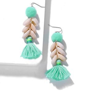 Wild shell handmade fluffy tassel earrings NHJQ139255's discount tags