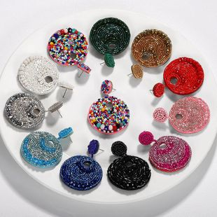 Womens Geometric Circle Rice Beads Earrings NHJQ139260's discount tags