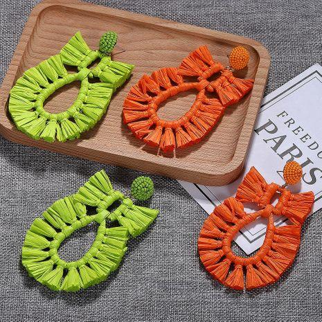 Fashion pineapple woven raffia earrings NHJQ139265's discount tags