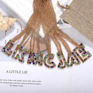 Womens Letter Rhinestone Necklaces NHJQ139267's discount tags