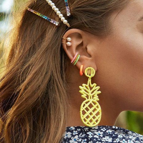 Womens Pineapple Raffia Earrings NHJQ139268's discount tags